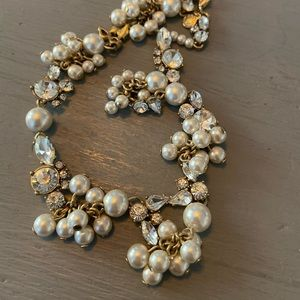 J. Crew Statement Faux Pearls Rhinestone Necklace